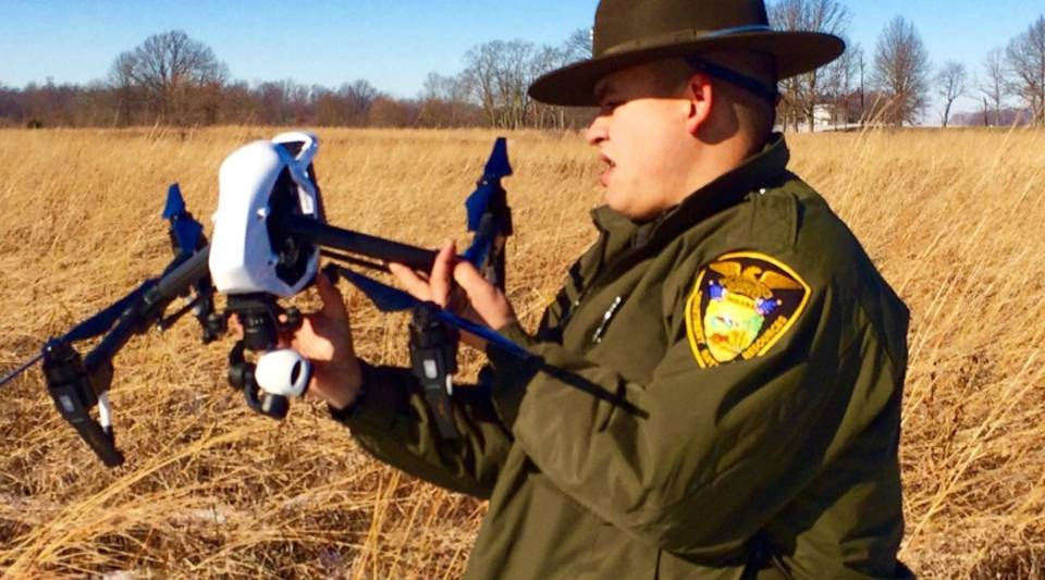 Pilot Matt Garringer, with the Indiana DNR, explains how a drone equipped with a video camera and GPS, could be used for search and rescue.