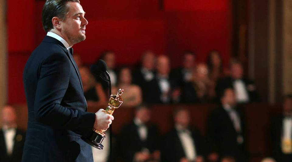 """Leonardo DiCaprio accepts the Academy Award for Best Actor for his role in the """"The Revenant."""""""