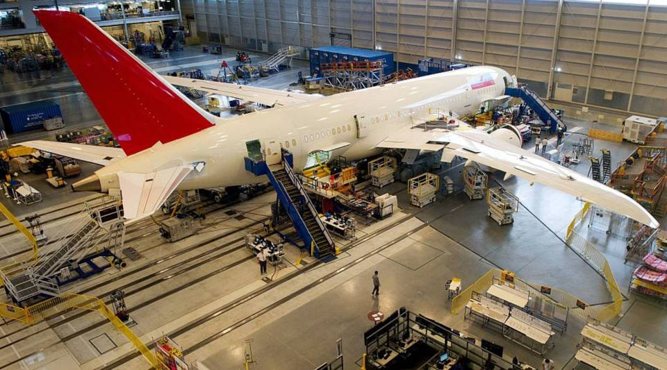 A new Boeing 787 Dreamliner being built for Air India is seen on the production line at a Boeing facility in North Charleston, South Carolina.