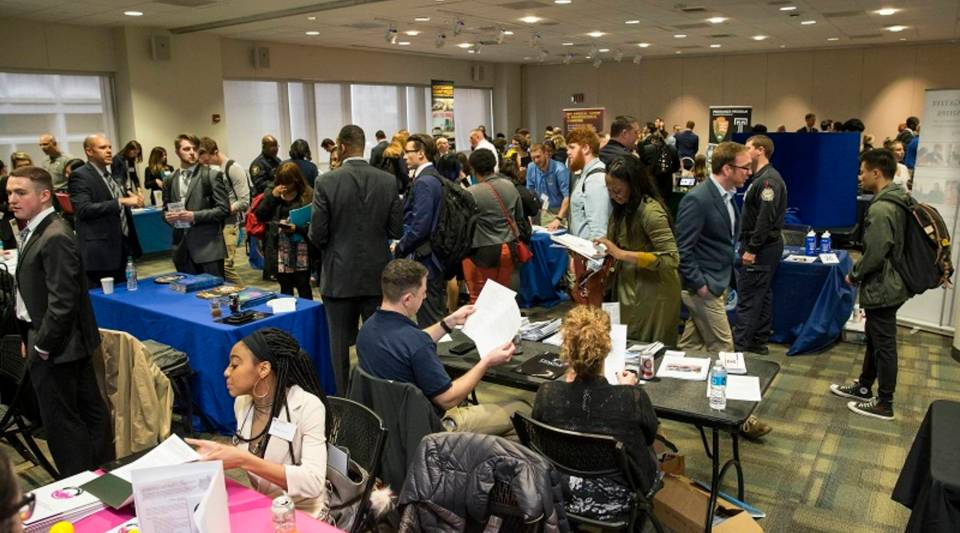 Criminal Justice students at Temple University attend a job fair Wednesday, at which Homeland Security recruited for the agency's investigative branch.