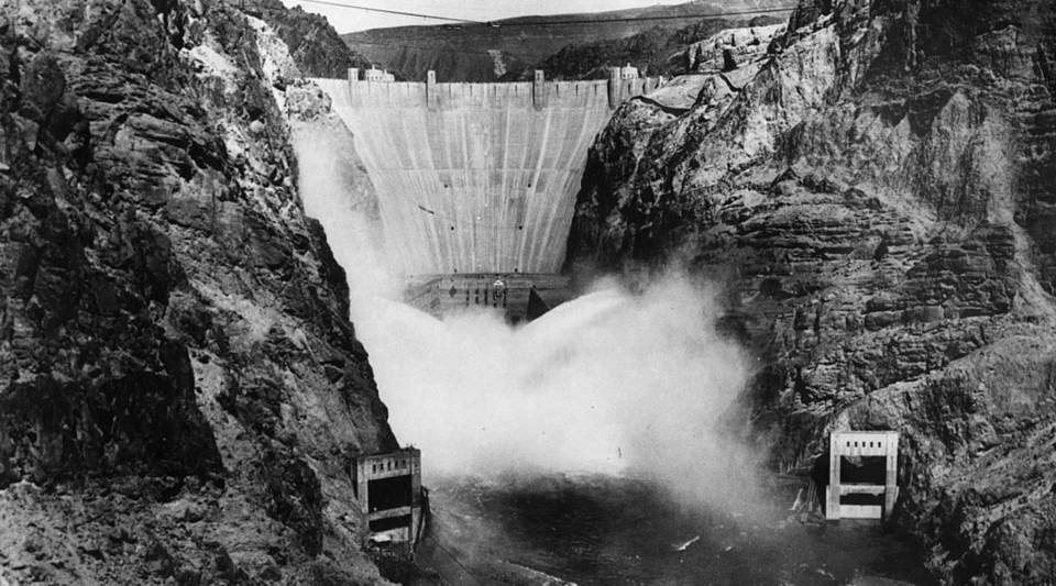 Hoover Dam in 1936, the year it was completed. The dam was finished two years ahead of schedule and under budget, a feat unlikely to occur today.