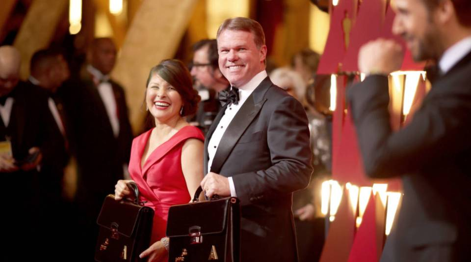 PricewaterhouseCoopers accountants Martha L. Ruiz and Brian Cullinan walk the red carpet at the 89th Annual Academy Awards at Hollywood & Highland Center on February 26, 2017 in Hollywood, California.