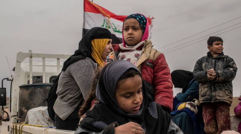 An Iraqi family that has fled fighting as Iraqi forces advance into Islamic State-controlled west Mosul.