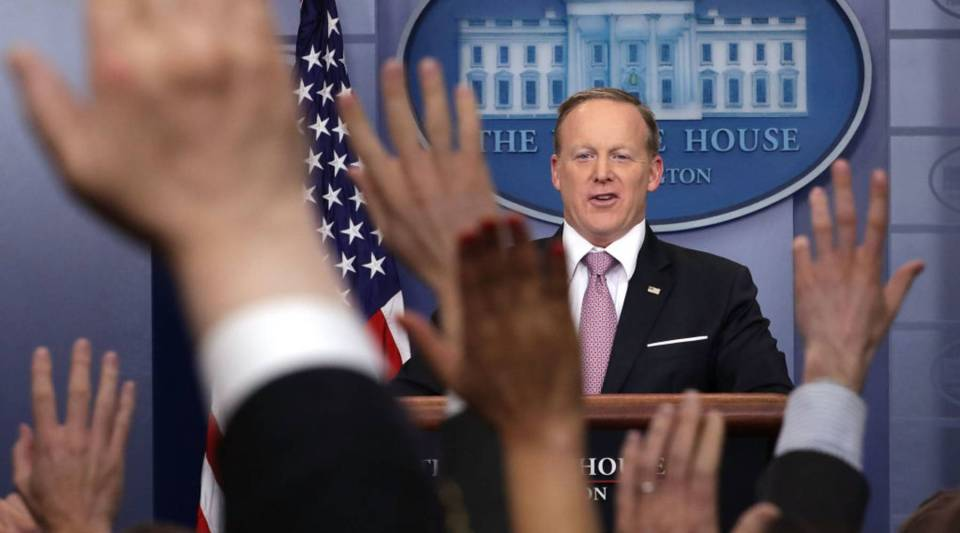 White House Press Secretary Sean Spicer takes questions from reporters during his daily press briefing in the Brady Press Briefing Room at the White House March 10, 2017 in Washington, DC.