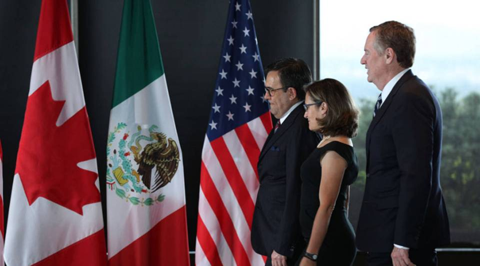 Mexico's Secretary of Economy Ildefonso Guajardo Villarreal, Canada's Minister of Foreign Affairs Chrystia Freeland, and United States Trade Representative Robert E. Lighthizer gather for a trilateral meeting at Global Affairs on the final day of the third round of the NAFTA renegotiations in Ottawa, Ontario, September 27, 2017.