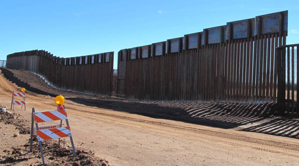 A stretch of wall between Nogales, Arizona, and Mexico.