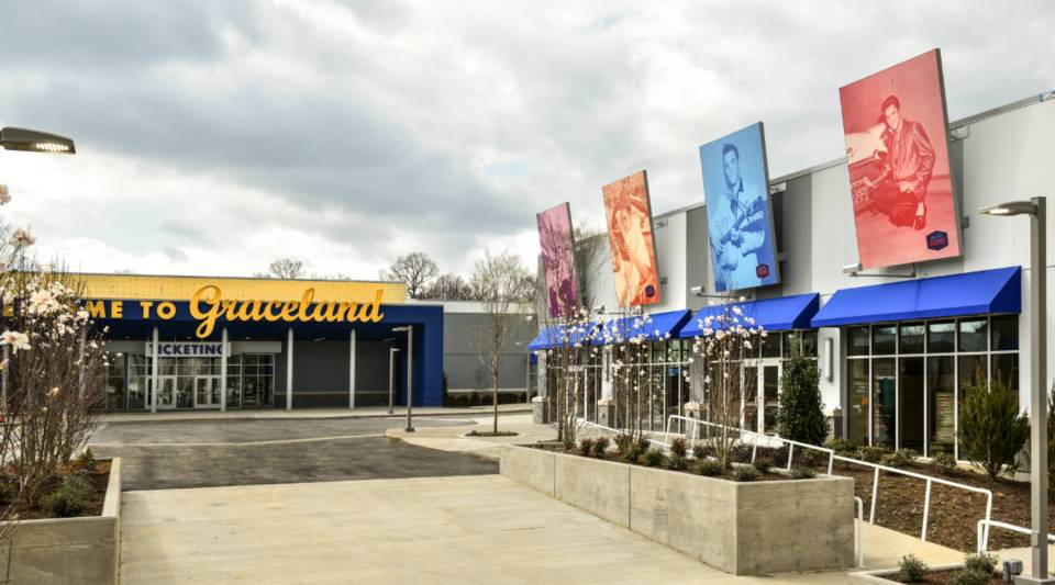 The new visitors' center at Graceland, called Elvis Presley's Memphis, includes museums, restaurants and gift shops. It opens on Thursday and represents the largest expansion of the Memphis tourist attraction since it opened in 1982.