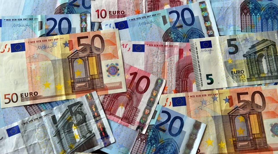 A view of euro banknotes.