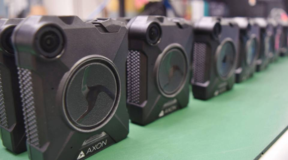 Axon body cameras that just came off the production line.