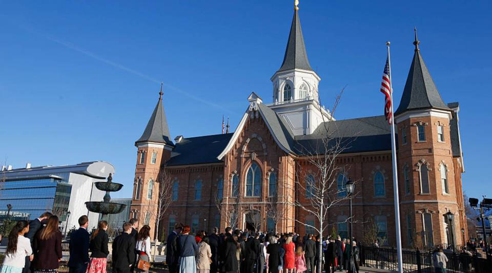 """""""Our goal is to promote transparency within the Mormon Church,"""" said Ryan McKnight, creator of MormonLeaks, a website where userspost information anonymously about the Church of Jesus Christ of Latter Day Saints.Above, a line of people wait outside the Provo City Center Temple."""