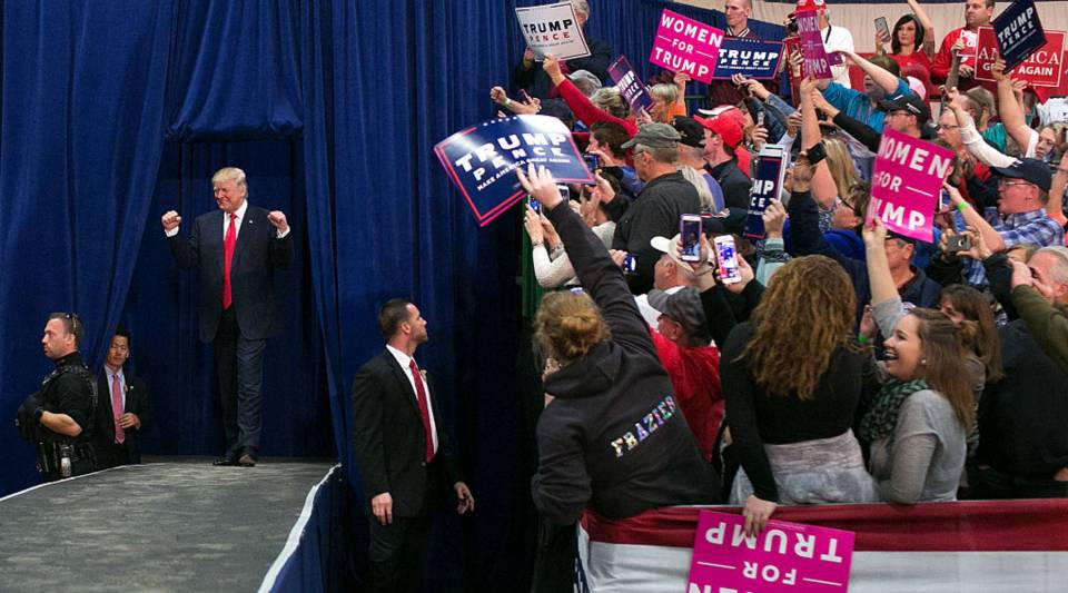 Republican presidential nominee Donald Trump greets the crowd at a campaign rally on October 27, 2016 in Springfield, Ohio.