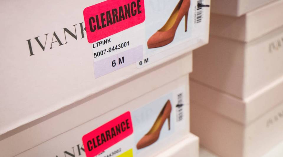 Ivanka Trump's fashion line was pulled from some stores after the election amid a boycott of Trump-branded products. Above, her shoes are on clearance at the Century 21 department store in New York City.