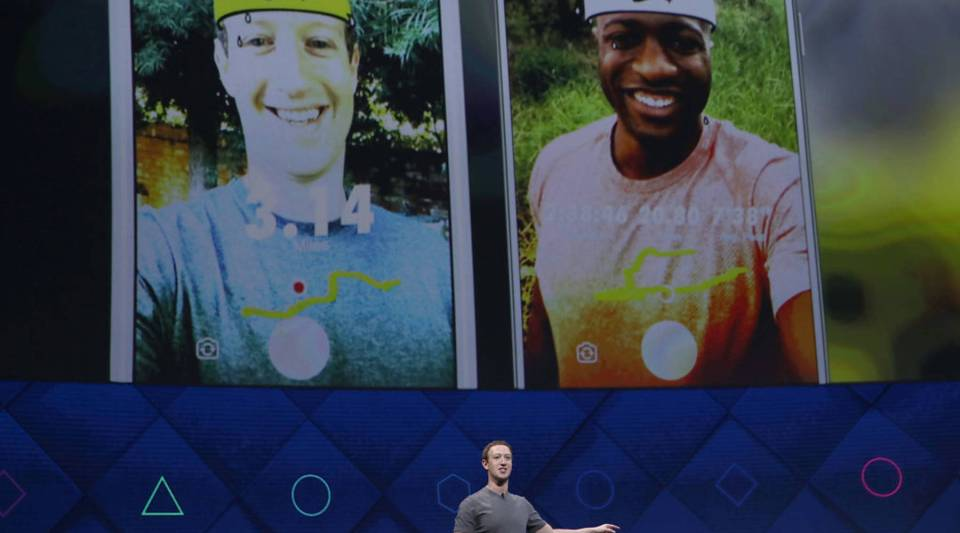 Facebook CEO Mark Zuckerberg delivers the keynote address at Facebook's F8 Developer Conference Tuesday at McEnery Convention Center in San Jose, California.