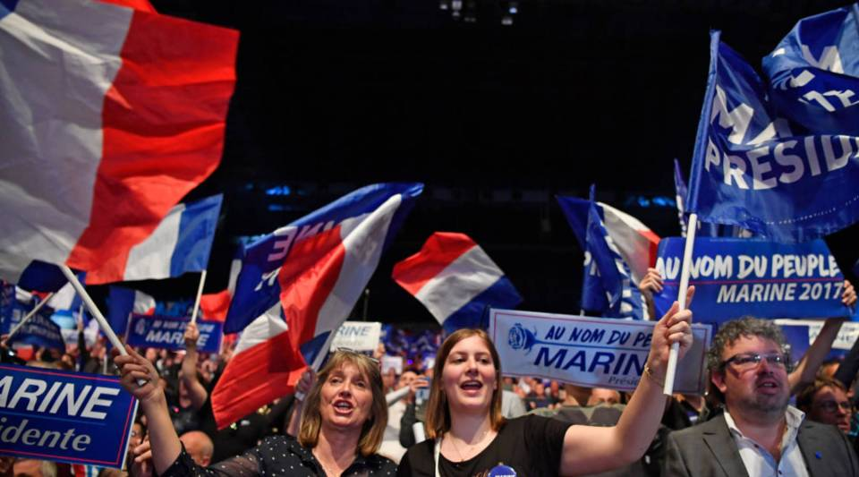 Far-right supporters attend a presidential campaign rally by National Front leader Marine Le Pen at the Dome De Marseille on Wednesday.