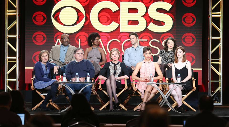 "The cast of ""The Good Fight"" and the show's executive producers at the 2017 Winter Television Critics Association Press Tour. Marc DeBevoise, president of CBS Interactive, says CBS All Access has more than a million subscribers."