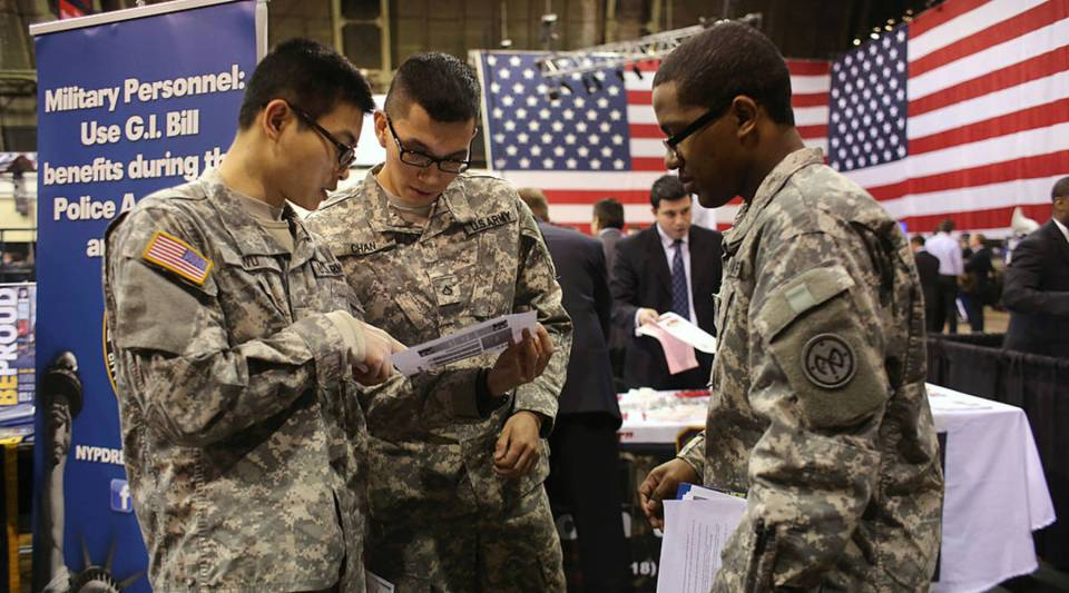 New York national guardsmen prepare to meet potential employers at a job fair in New York City.