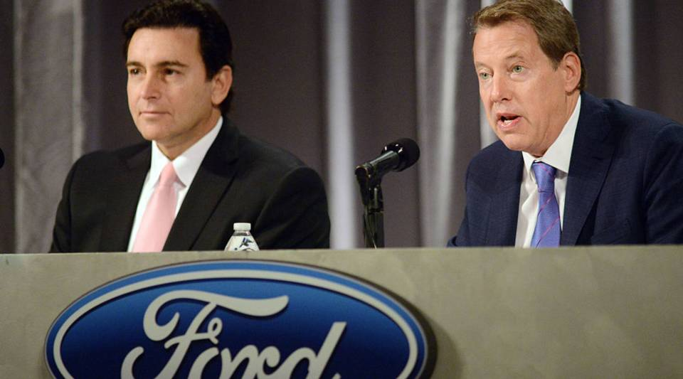 """""""We need to move faster with great clarity so that everybody understands where we're going, our employees, our investors, and the public"""" said Bill Ford, Ford's executive chairman. Above, a picture of Ford and former CEO Mark Fields."""