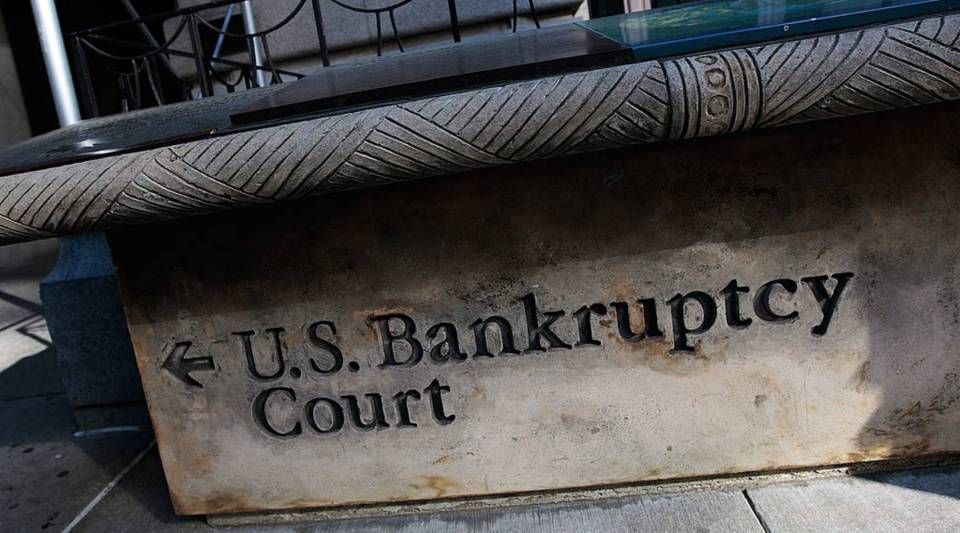 A sign leading to U.S. Bankruptcy Court in New York City.