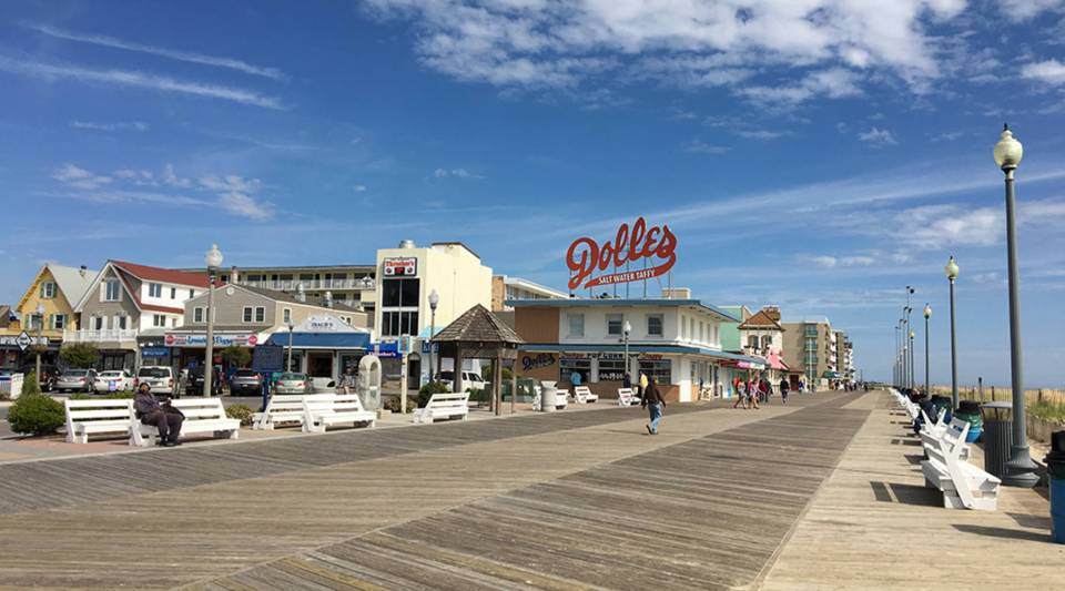 The boardwalk at Rehoboth Beach, Delaware. The town attracts about 7 million people a year.