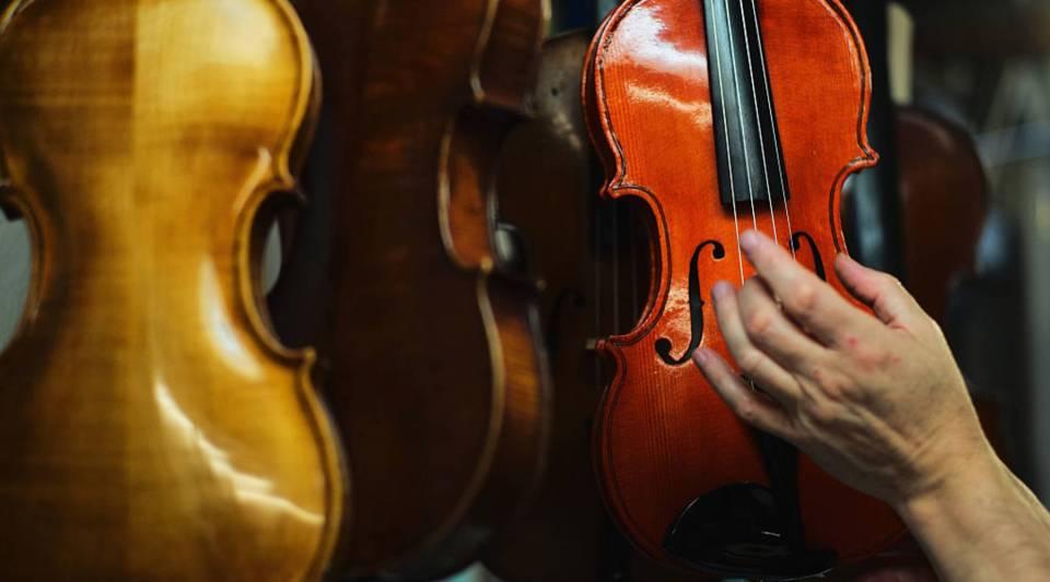 Violins in a workshop.
