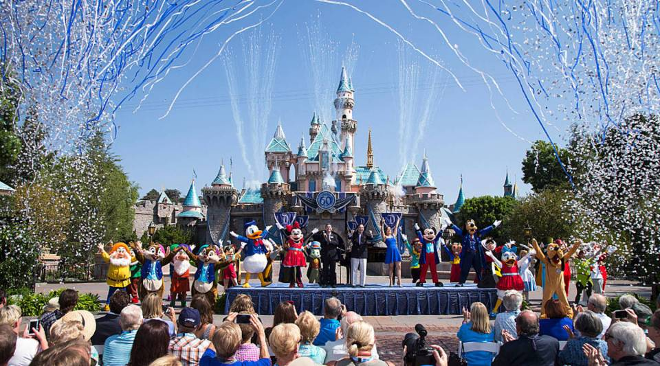 Mickey Mouse and his friends celebrate the 60th anniversary of Disneyland Park during a ceremony at Sleeping Beauty Castle in Anaheim, California.