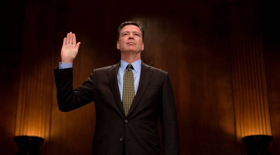 Former FBI Director James Comey is sworn prior to testifying before the Senate Judiciary Committee on Capitol Hill in Washington, D.C., on May 3.