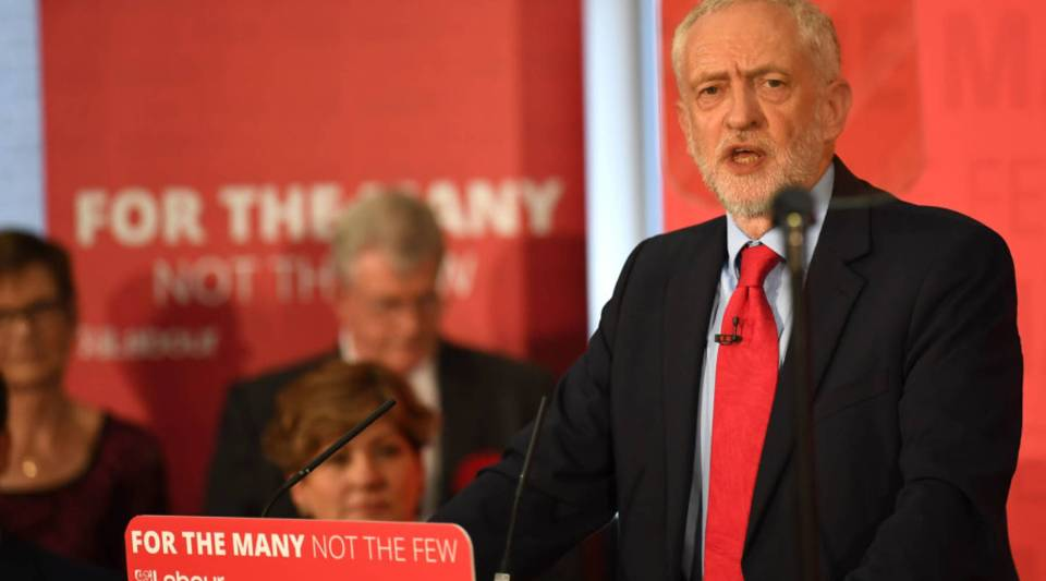 Opposition Labour Party leader Jeremy Corbyn speaks at an election campaign event in Basildon, east of London, on June 1.