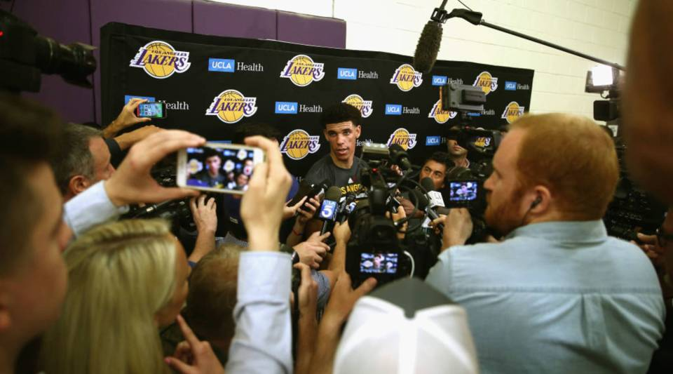 NBA Prospect Lonzo Ball speaks with the media after a workout with the Los Angeles Lakers at Toyota Sports Center on June 7 in El Segundo, California.
