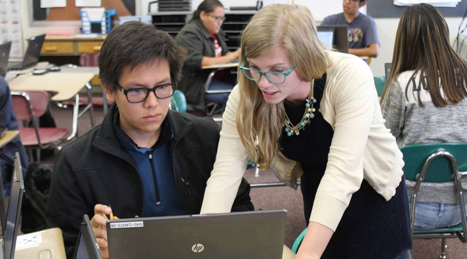 Students in computer science class at Shiprock High School are diving into concepts like basic HTML and CSS.