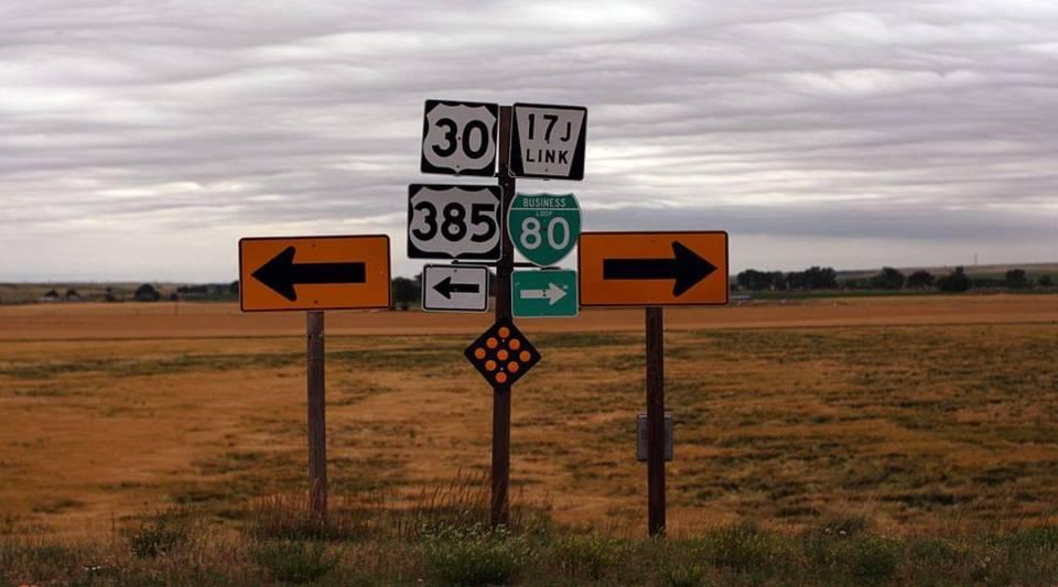 Signs direct drivers in Sidney, Nebraska.