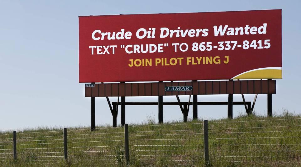 A billboard off Interstate 25 in southeastern Wyoming.