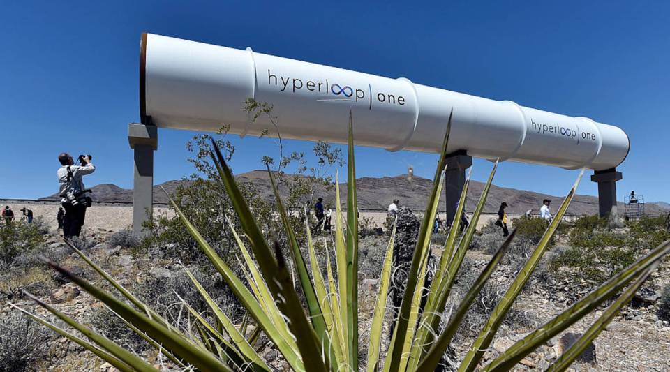 Hyperloop tubes are displayed during the first test of the propulsion system at the Hyperloop One Test and Safety site in 2016 in North Las Vegas.