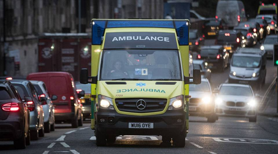 An ambulance arrives at the Accident and Emergency department of the Bristol Royal Infirmary in Bristol, England.