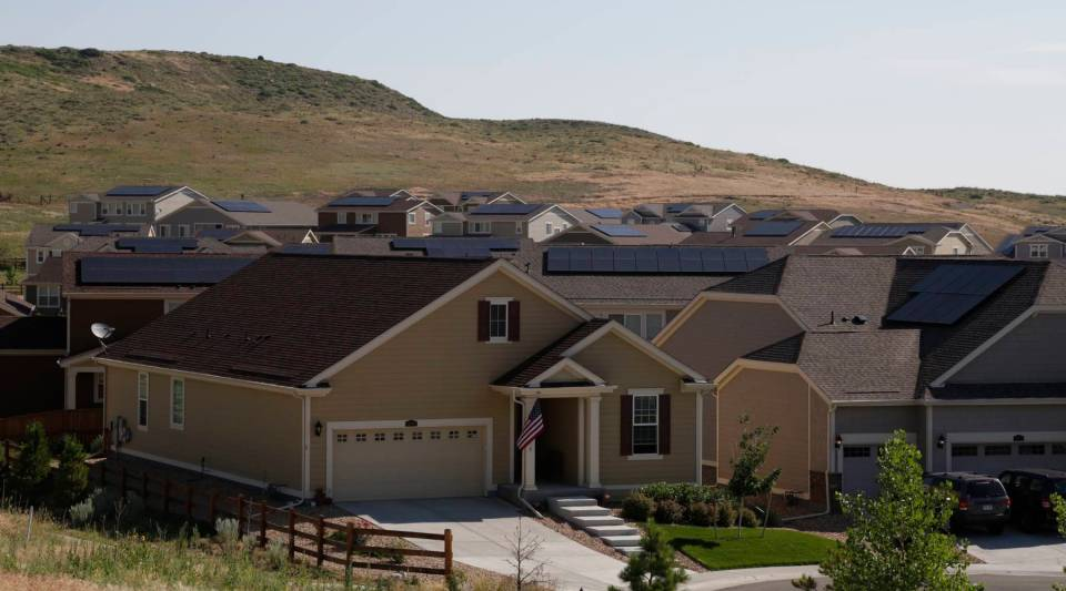 Developers of the Table Rock Ridge subdivision outside Golden, Colorado, require all homes be sold with rooftop solar panels already installed.