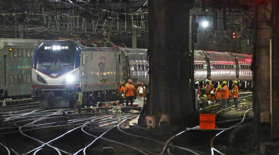 Infrastructure renewal work beneath Penn Station in New York.