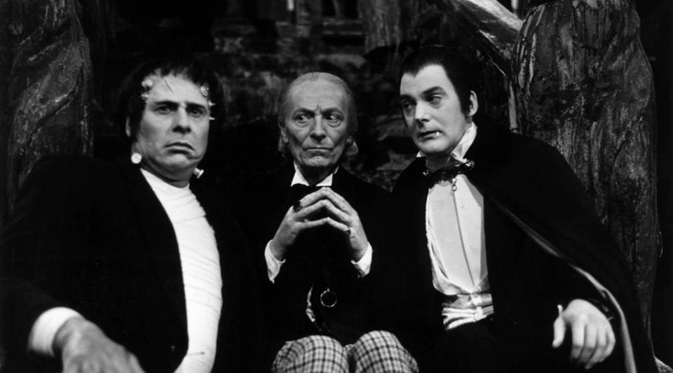 """William Hartnell (1908 - 1975, center) stars as the doctor alongside Dracula and Frankenstein's monster in """"The Chase,"""" an episode of the long-running television series """"Doctor Who."""""""