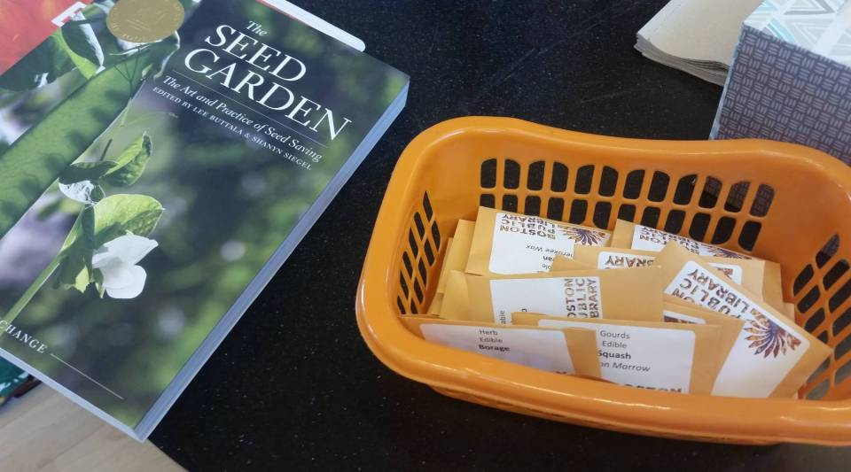 Library patrons in East Boston can check out gardening books and take seed packets home with them.