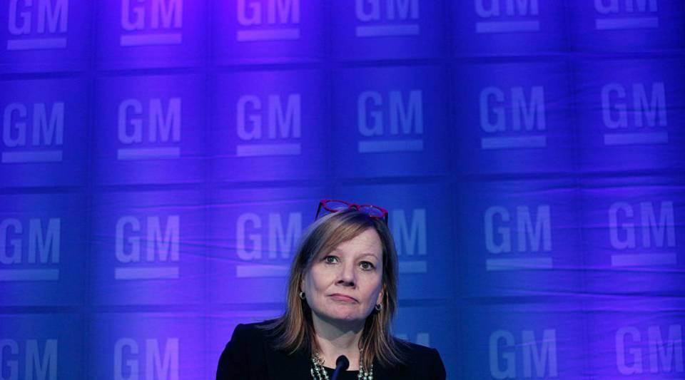 General Motors CEO Mary Barra holds a media briefing prior to the start of the 2015 GM Annual Meeting of Stockholders at GM world headquarters June 2015 in Detroit, Michigan.