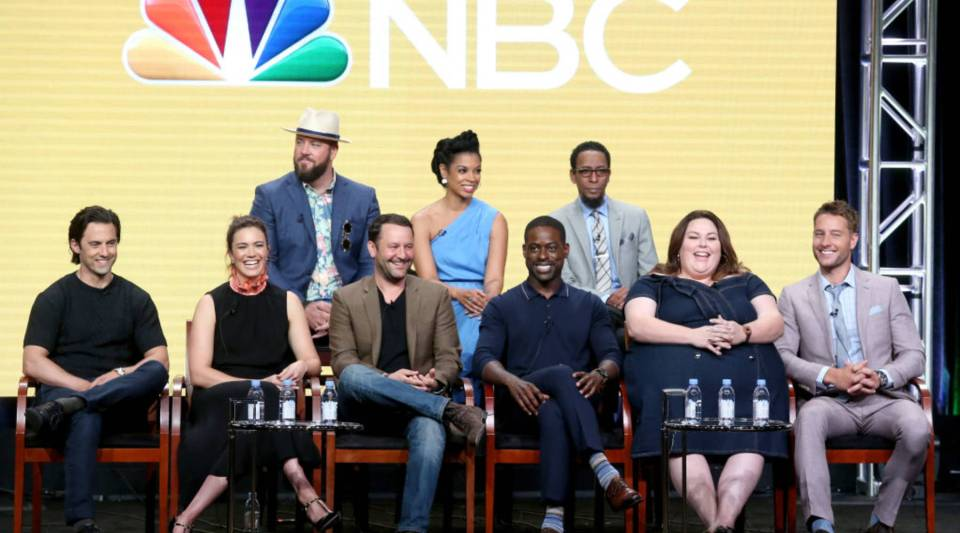 """This Is Us"" cast and creator speak during the NBCUniversal portion of the 2017 Summer Television Critics Association Press Tour at The Beverly Hilton Hotel in August. Top row, from left: Actors Chris Sullivan, Susan Kelechi Watson, Ron Cephas Jones. Bottom row, from left: Milo Ventimiglia, Mandy Moore, executive producer/showrunner Dan Fogelman, and actors Sterling K. Brown, Chrissy Metz, and Justin Hartley."