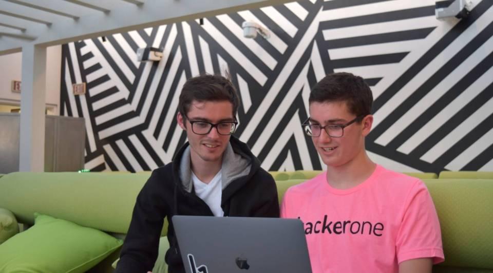 HackerOne co-founder Jobert Abma (left) and bug bounty winner Jack Cable.