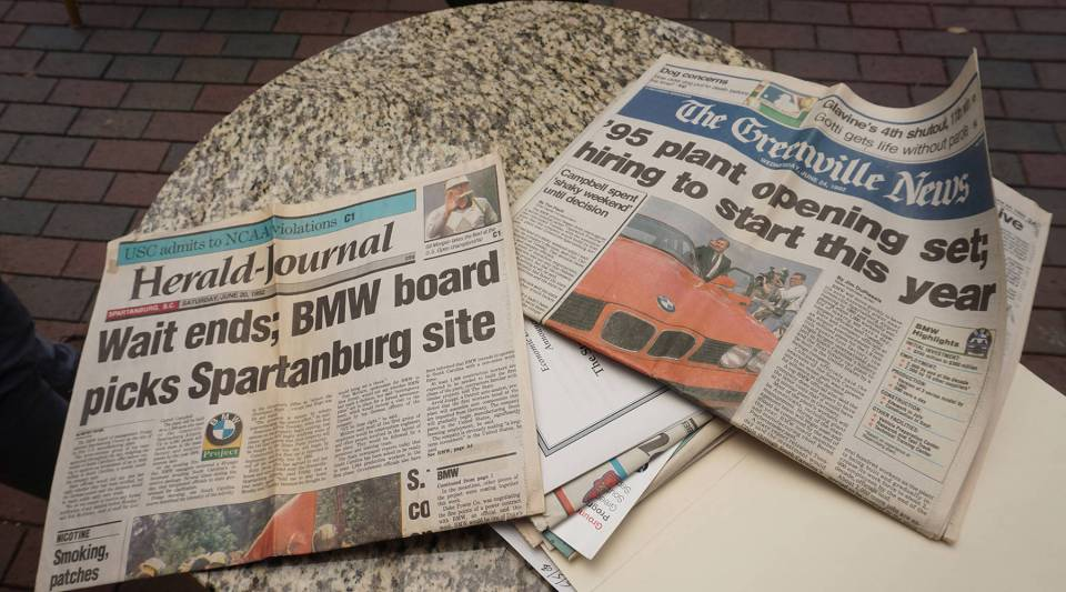 A collection of newspapers from BMW's early days in Spartanburg county.