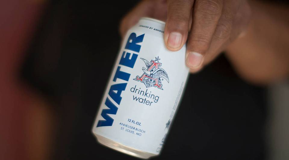 A can of water from the Anheuser-Busch company.