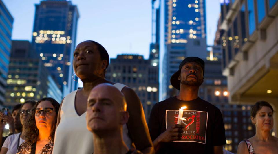 "A vigil is held in downtown Philadelphia on Sunday in support of the victims of violence at the ""Unite the Right"" rally In Charlottesville, Virginia this weekend."