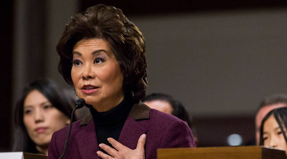 Transportation Secretary Elaine Chao testifies at her confirmation hearing in January 2017.