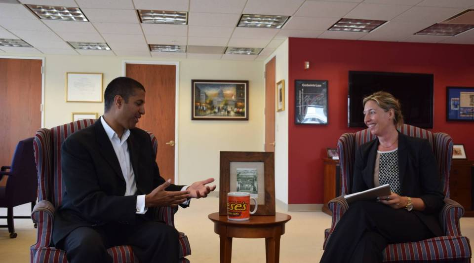 Ajit Pai talks with Molly Wood about his giant coffee mug.