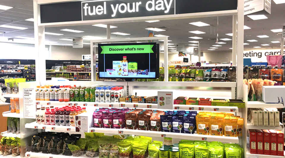 A display at CVS touting healthy snacks. CVS wants shoppers to make healthier choices.