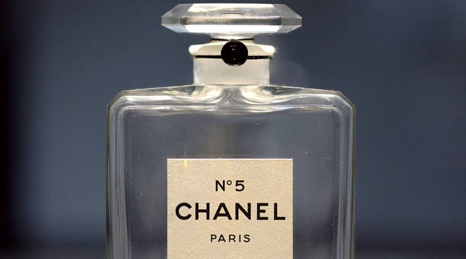 A perfume flask of 'Chanel N°5', created in 1921, is displayed as part of the exhibition 'N°5 culture Chanel' referring to French fashion designer Coco Chanel (1883-1971) at the Palais de Tokyo art museum in Paris