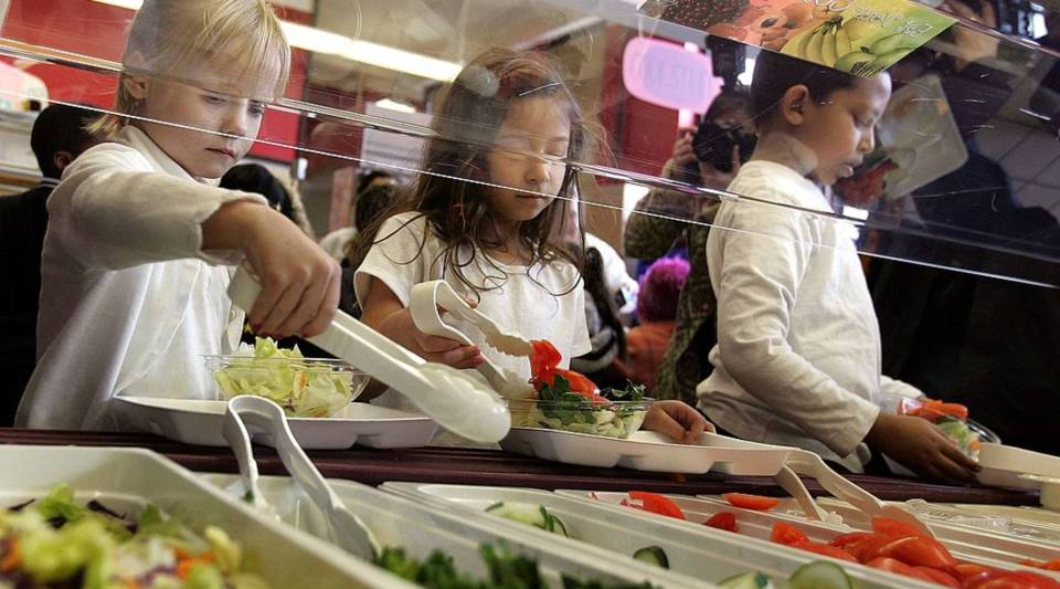 Students at a Chicago elementary school dig into a salad bar in the school's lunchroom.