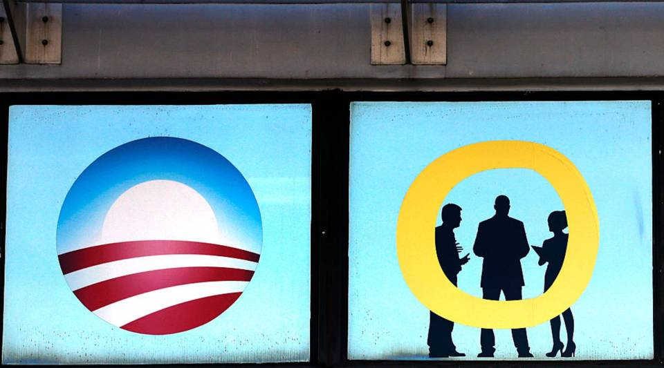 An Obamacare logo is shown on a clinic in Miami, Florida on Jan. 10.