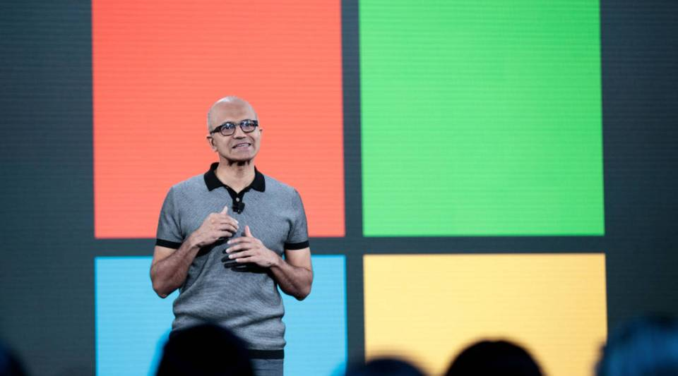 Satya Nadella, chief executive officer of Microsoft, speaks during a Microsoft event inMay 2017 in New York City.